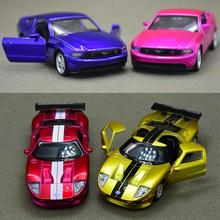 Candice guo alloy mini car model 1:43 Ford GT racing Mustang color vehicle motor pull back Christmas present birthday gift 1pc