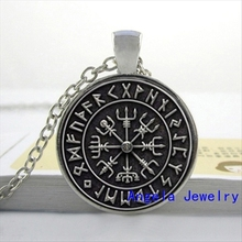 NS-00242 New Fashion Hot Glass Dome Jewelry Viking Compass Necklace Glass Picture Pendant Gifts For Men