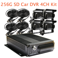 Free Shipping 12-24VDC 4CH H.264 G-sensor 256GB SD Mobile Car DVR Recorder + SONY Rear View Duty Camera for Heavy Truck Van Bus