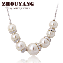 ZHOUYANG ZYN544 Simple Imitation Imitation Pearl Jewellery Silver Color Necklace Pendant Made with Austria Crystal Wholesale(China)