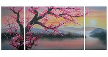 100% Hand Painted Floral Plum Flowers 3 Panels Stretched Frame Oil Paintings Set for Living Room Modern Canvas Wall Art