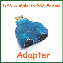 100pcs Converter USB A Male to PS2 Female Extension Connector Y-Splitter Plug Adapter