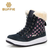 shoes women flat winter ankle autumn snow boots 2017 female lace up fur boots brand outdoor sport girl boy plus size 41 booties