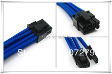 PCI-E 8PIN three braid extension power cable 18AWG with Blue sleeving --- 6P+2P(