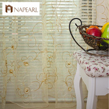 Free shipping Window screening living room curtain  rustic organza embroidered tulle fabric for window