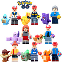 8pcs Monster Go Ash Ketchum May Tracey Sketchit MAX Pikachu Charmander Bulbasaur Building Blocks minifig Kids Toys