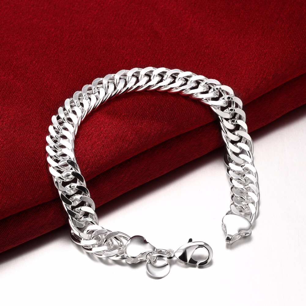 10MM 925 pure silver plated cm hand link chain Bracelets & Bangles For Women Men New Fashion silver Jewelry Wholesale 4