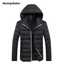 NaranjaSabor 2017 Winter Parkas Men's Coats Warm Thick Hooded Padded Mens Casual Jackets Male Overcoat Mens Brand Clothing 4XL(China)