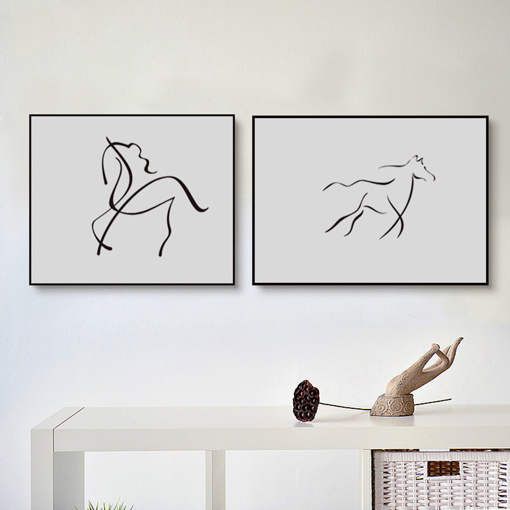 Nordic-Modern-Minimalist-Black-White-Drawing-Horse-Curve-Abstract-Art-Print-Poster-Image-Canvas-Mural-Home (1)