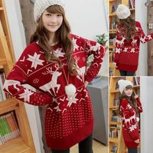 Women Long Sleeve sweater for winter Christmas Fashion cute deer maple leaf pattern sweater with O-Neck Girl sweaters(China)