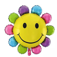 Free shipping 1pcs colorful smile sunflower balloon party supplies balloon Aluminum birthday balloons