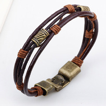 Unisex Casual/Sporty Multi-Layer Alloy Hook Link Chain Christmas Holiday Bracelet Genuine Leather Genuine Women Man Bracelets
