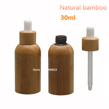 10Pcs/Lot  30ML  Natural Bamboo Empty Refillable Glass Bottle Refillable Lotion essential oil Glass Bottle with Dropper 30ml