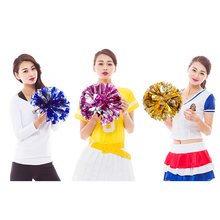 1Pair Cheerleader Pom Poms 150g Metallic Hen Party Blue Purple Silver Gold Pompoms School Ceremony Game Match Cheer 048-938
