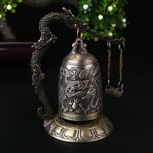Antique Home Decoration China Buddhism Brass Copper Carved Statue Lotus Buddha Dragon Bell Clock Bronze Buddhist Bells Artware