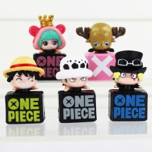 5Pcs/Set 4cm Anime Cartoon One Piece Tony Tony Chopper Luffy Nami Robin Sanji PVC Figure Toy Dolls Dust Plug With Box