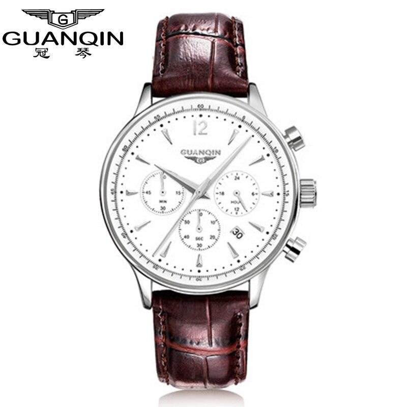 Watches Men Luxury Original Brand GUANQIN New Fashion Mens leather Quartz Watch Waterproof Male Wristwatch relogio masculino<br>