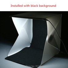 Foldable Mini Photo Studio Box built-in LED Light with Black and White Backdrops for Smartphone Camera Photography Softbox