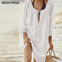Women Swimsuit Cover Ups Sexy Kaftan Beach Tunic Dress 2017 Summer Robe De Plage Solid Cotton Pareo Beach Cover Up #Q363(China)