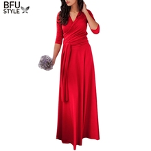 Multi Way Reversible Convertible Dress Boho Black Red Gown Long Sleeve Dress Robe Infinity Longue Femme 2017(China)