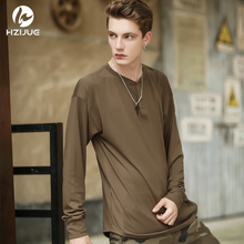 HZIJUE 2017 new fashion brand clothes mens hip hop Original design loose pure cotton male solid o-neck long sleeve 3 colors top(China)