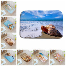 beautiful shell whelk flowers ocean sea beach40*60cm  Entrance Indoor Coral Fleece Non-slip Floor Mat Doormat