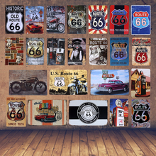 Retro Metal Poster Gas Station US Route 66 Tin Signs Vintage Home Decorative Bar Pub Wall Decor Metal Car Sticker 20X30CM