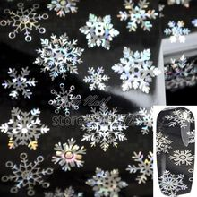 Glitter Big and Small Snowflake Nail Art Transfer Foil Paper Tip Sticker Nails Craft Decoration New Fashion Design GL110(China)