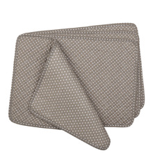 Neoviva Cotton Quilted Table Mats for Dining Room, Set of 4, Polka Dots Sugar Brown