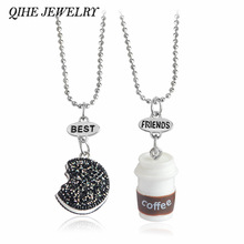 QIHE JEWELRY 2pcs/set Kawaii Cookie And Coffee Best Friend Necklace Friendship Necklace Miniature Food Besties Jewelry BFF Gift