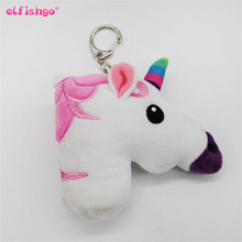 Unicorn Keychain Plush Key Chain Metal Ring Cover Holder Handbag Shoulder Bag Charms Love Horse Toy Rainbow Unicorn Doll Trinket