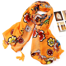 180*100cm new arrival yellow flowers long luxury brand scarf women cotton scarves shawls coloured muffler pashmina bufandas PZ-8
