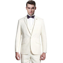 Fashion men's formal suit elegant pure white suit the groom's best man simple show thin man three-piece formal suit