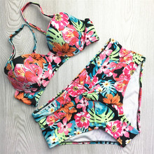 Real Pictures Red Floral Print Girls Good Quality Bikini Low Waist Swimwear 2 Pieces Tankini With Pad Women Swimsuit Size S M L(China)