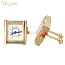 VOGEM Functional Watch Cufflinks Men Shirt High Quality Gold White Colors Real Electronic Clock Cuff Links Business Office Gifts(China)