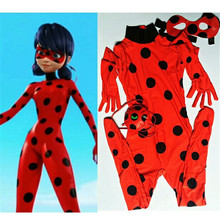 The Miraculous Ladybug Suit Cosplay Costumes Halloween Girls Marinette Ladybug Jumpsuits Kids Adult Full Lycra Zentai Suit