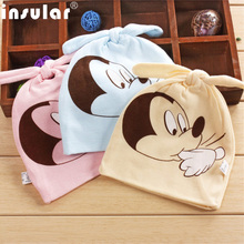 Cotton Cartoon Mouse Printing Baby Cap Fashion Love Full Months Newborn Cap Size Can Adjustable 0-3 Months Infant Cap
