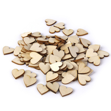 100pcs 20mm Blank Heart Wood Slices Discs for Wedding DIY Crafts Embellishments Christmas Decoration(Wood Color)