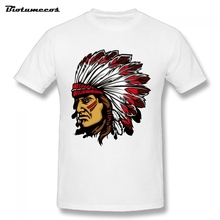 Indians Image T Shirt Men High quality T Shirt Adult Short Sleeve Cotton Plus Size T-shirt For Teenage MTQ011(China)
