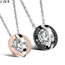 Hot new couple accessories round simulated diamonds Love exquisite pendant necklace titanium steel couple jewelry