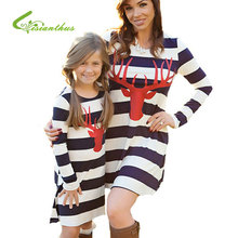 2017 Autumn Mother Daughter Dresses Striped Clothes Party Family Matching Outfits Long Sleeve Fashion Deer Head Cartoon Dress(China)