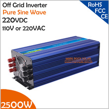2500W 220VDC Off Grid Pure Sine Wave Solar or Wind Inverter, Surge Power 5000W PV Inverter for 110VAC or 220VAC Home Appliances