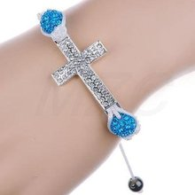 Trendy!Hot!38*25mm white Cross shamballa bracelets .MVC3452 Best Christmas gift! Blue Green Crystal Clay bracelet.Free Shipping!(China)