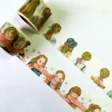 Lovely  40mm*7m  high quality  washi paper  tape/Beautiful  Plait  girl And Scarf girl masking  japan  washi tape