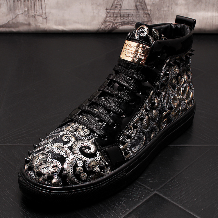 Stephoes 2019 Men Fashion Casual Ankle Boots Spring Autumn Rivets Luxury Brand High Top Sneakers Male High Top Punk Style Shoes 60 Online shopping Bangladesh