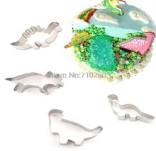020141 Stainless Steel 4Pcs/Set Dinosaur Animal Fondant Cake Cookie Biscuit Cutter Decorating Mold Mould Pastry Baking Tools