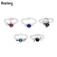 40pcs Children Crystal Rings Wholesale Lot Assorted Cute Kid Gift Party Adjustable Silver Plated Fashion Jewelry(China)