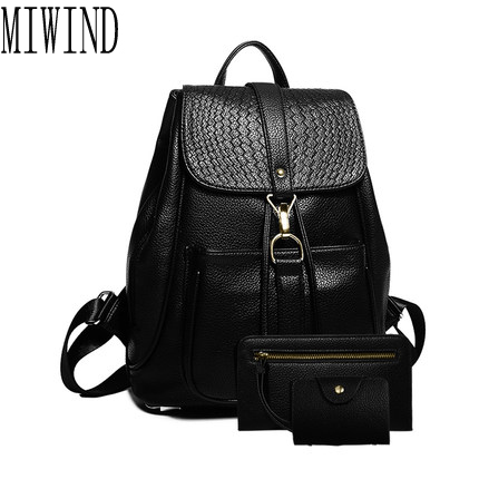 women leather backpack small minimalist solid black vintage pu leather with soft b for teenagers girls feminine backpack  T341<br>