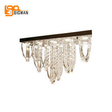 new rectangle design crystal pendant light modern suspension luminaire L72*W24*h45cm lustre restaurant lampara bar light(China)