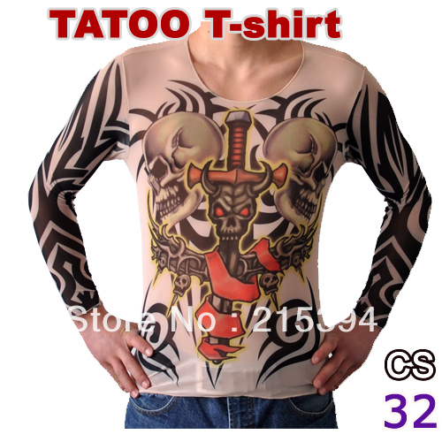Vigorous Patterned Mens Tattoo T Shirt Long Sleeve Apparel Men Funny Costume